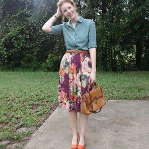 Purple Floral Midi Skirt